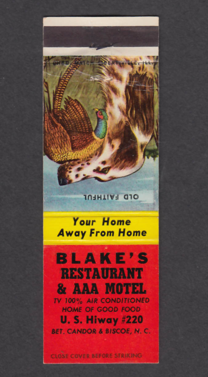 Image for Blake's Restaurant & AAA Motel US Hiway 220 NC matchcover