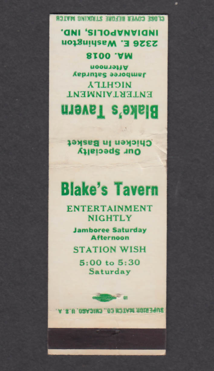 Image for Blake's Tavern 2326 E Washington Indianapolis IN matchcover