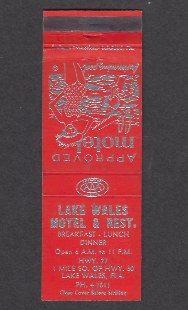 Image for Lake Wales Motel & Restaurant Lake Wales FL matchcover