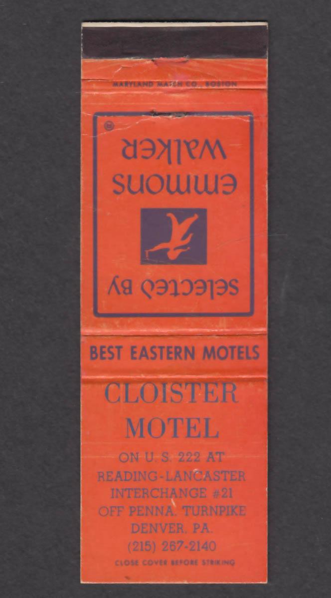 Image for Emmons Walker Cloister Motel Denver PA matchcover