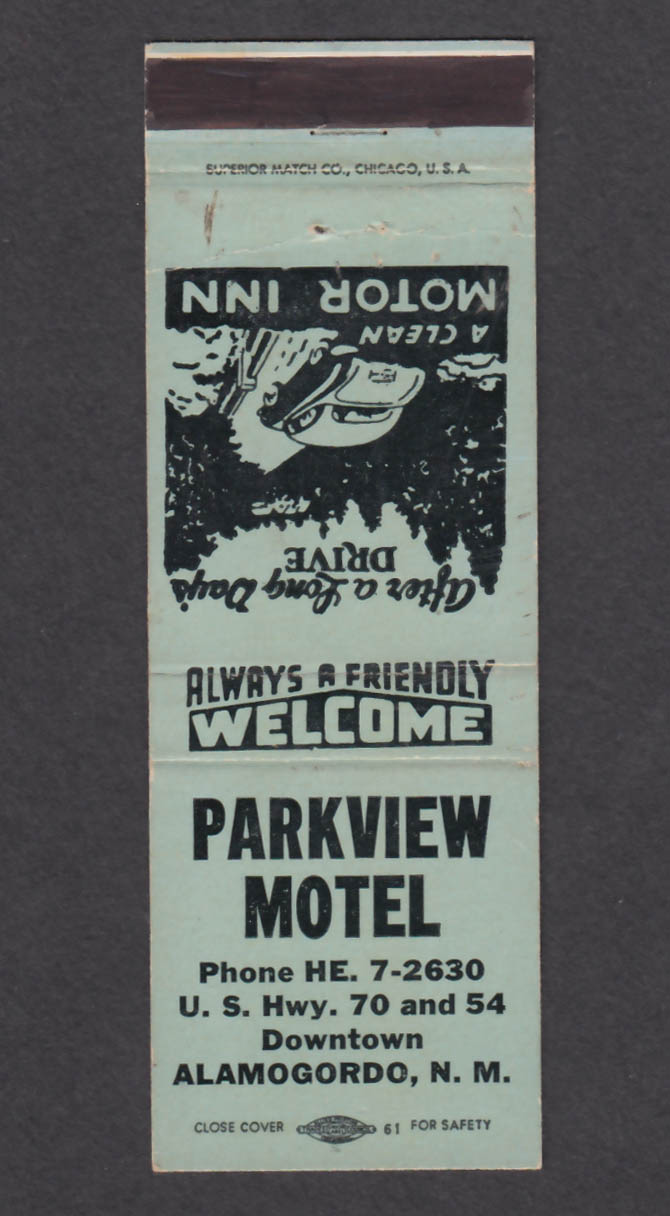 Image for Parkview Motel Alamogordo NM matchcover