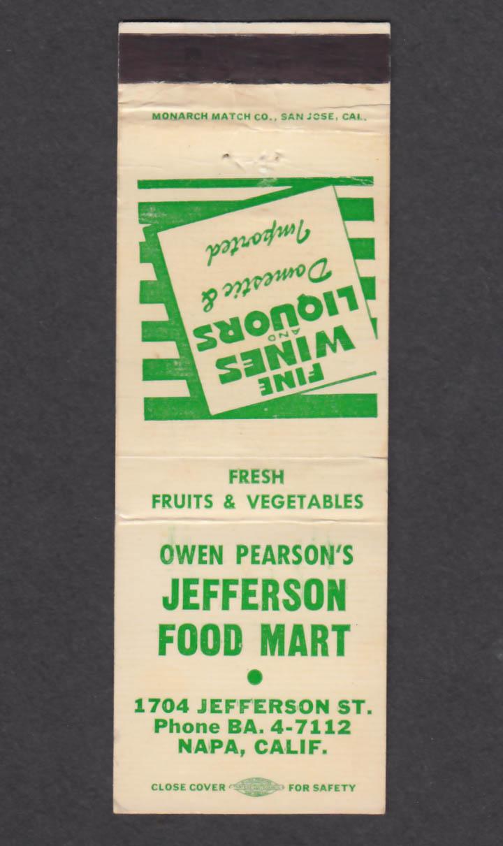 Image for Owen Pearson's Jefferson Food Mart 1704 Jefferson St Napa CA matchcover