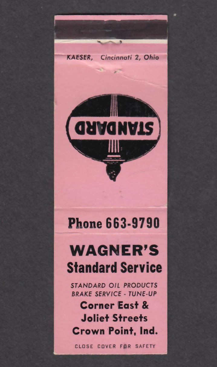Image for Wagner's Standard Service Crown Point IN matchcover
