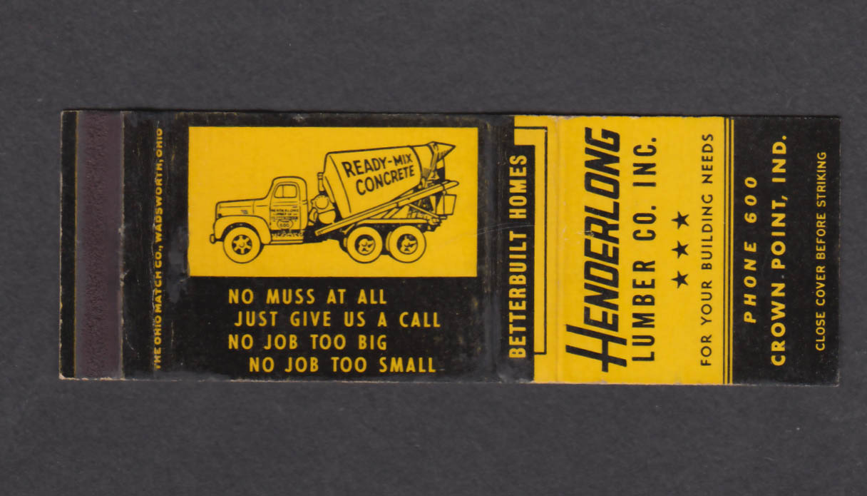 Image for Henderlong Lumber Co Inc Crown Point IN matchcover