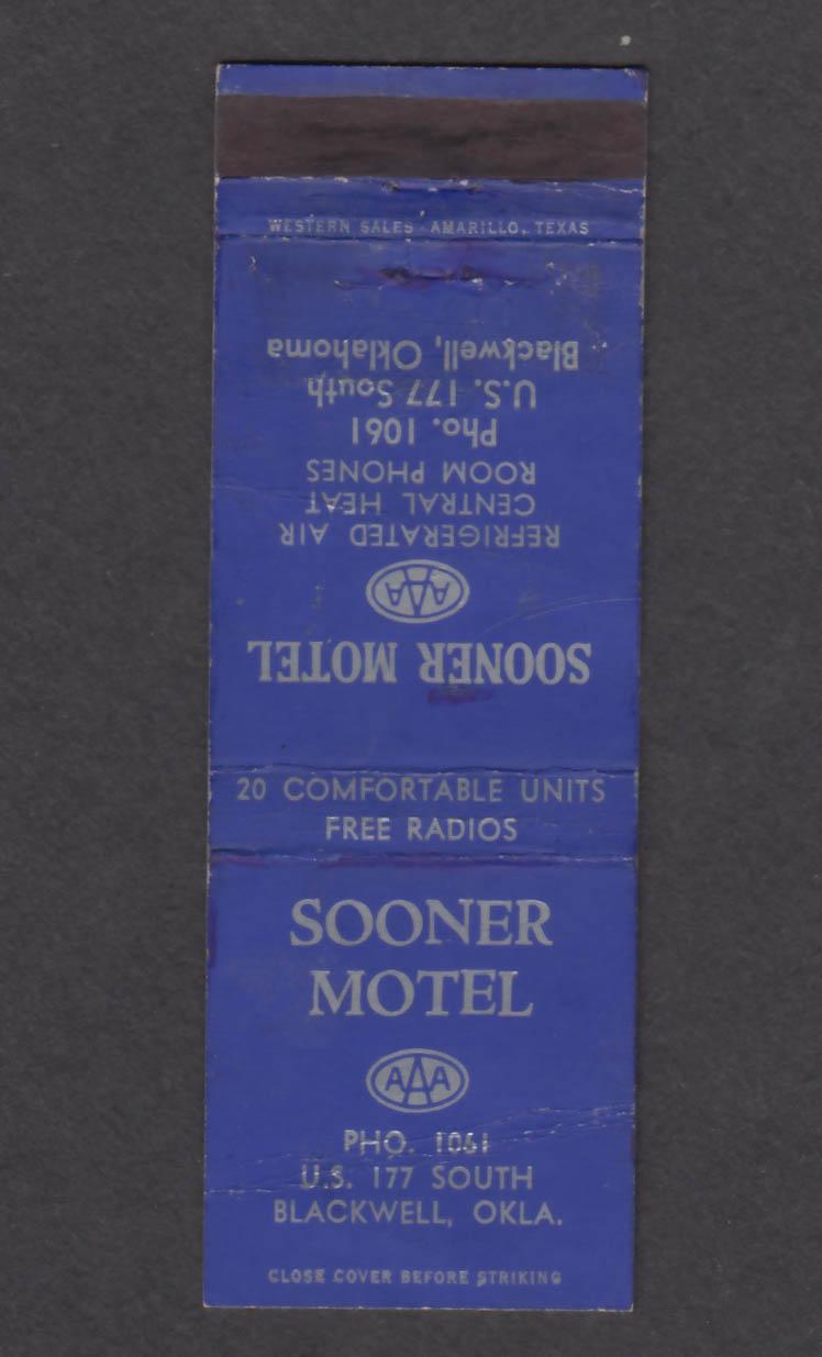 Image for Sooner Motel US 177 South Blackwell OK matchcover