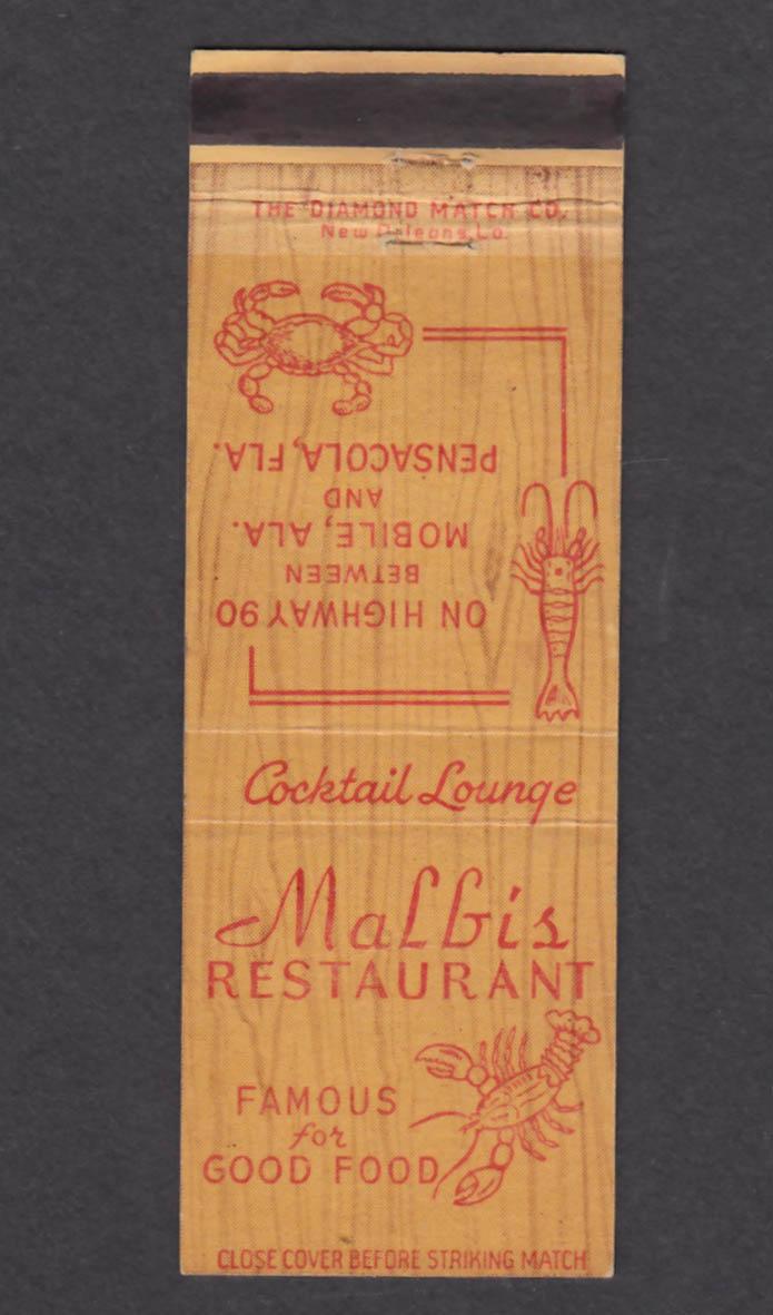 Image for Malbi's Restaurant Pensacola FL matchcover