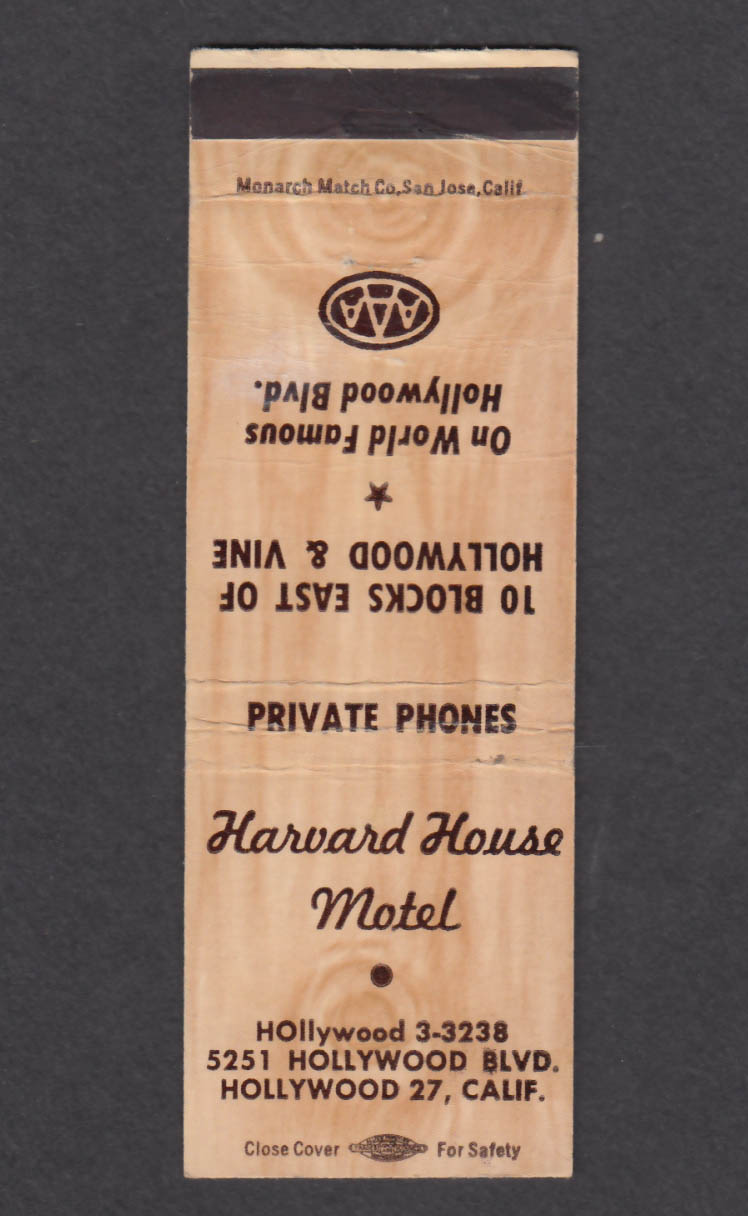 Image for Harvard House Motel 5251 Hollywood Blvd Hollywood CA matchcover