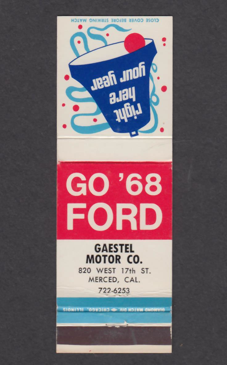Image for Gaestel Motor Co 820 West 17th St Merced CA 1968 Ford matchcover
