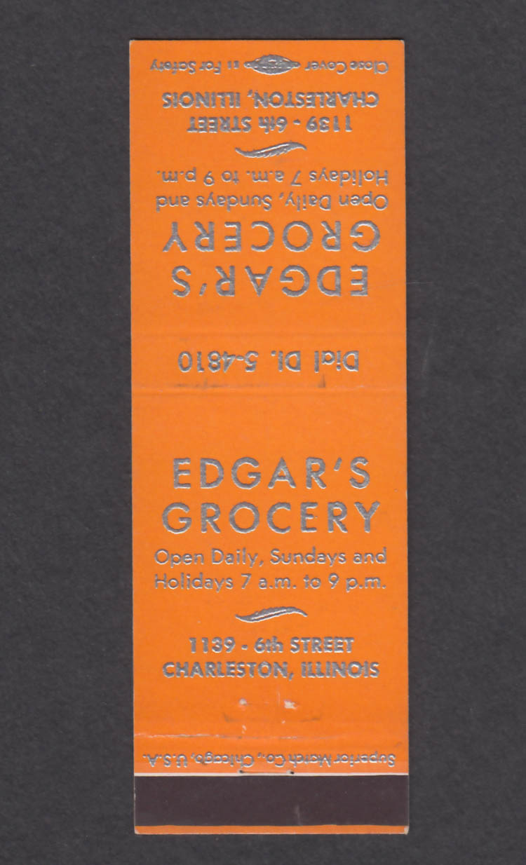 Image for Edgar's Grocery 1139 6th St Charleston IL matchcover
