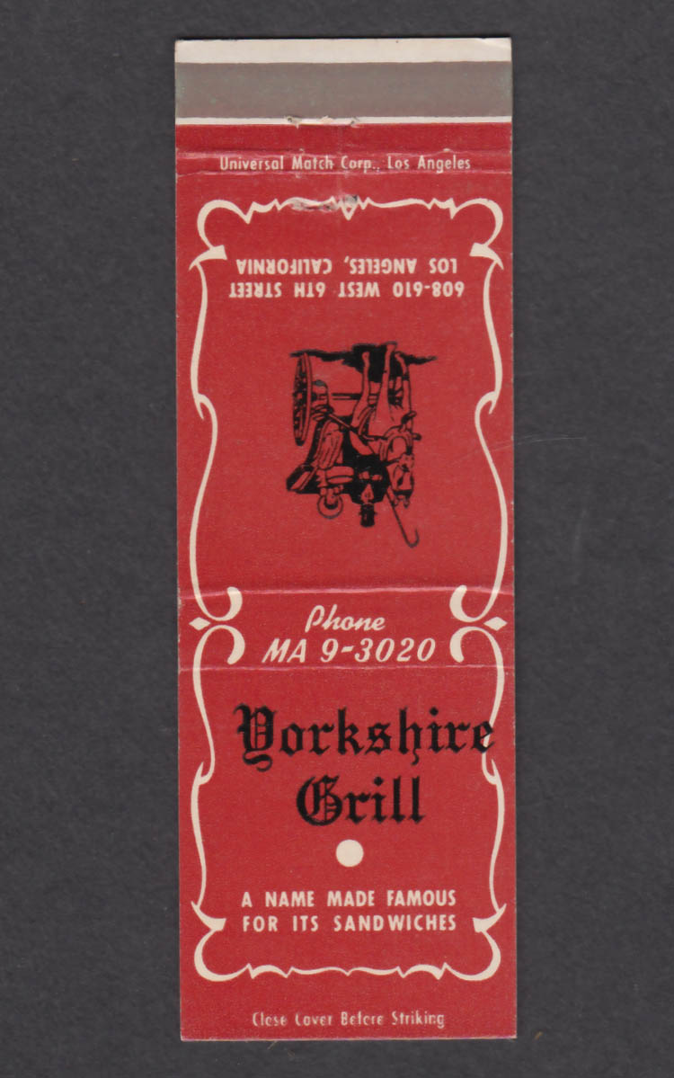 Image for Yorkshire Grill 608-610 West 6th St Los Angeles CA matchcover