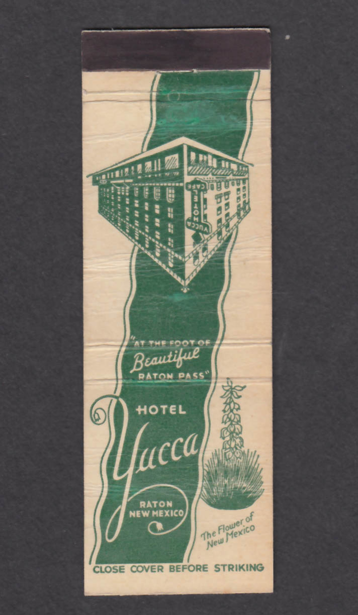 Image for Hotel Yucca Raton NM matchcover