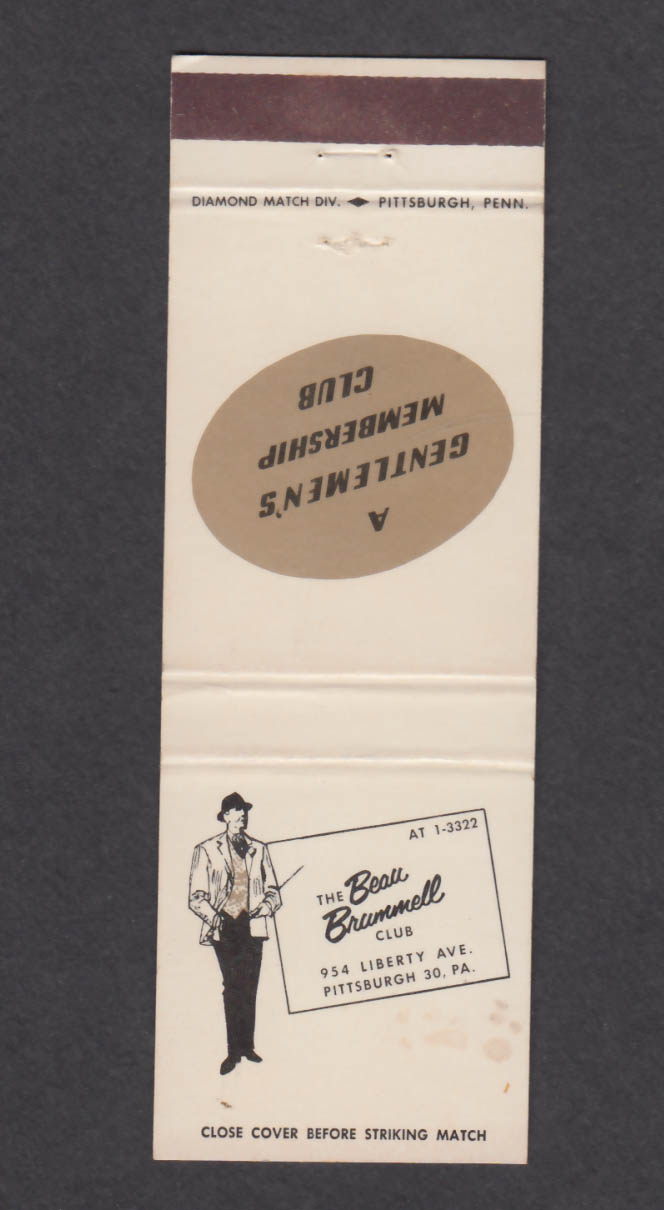 Image for Beau Brummell Gentlemen's Club 954 Liberty Ave Pittsburgh PA matchcover
