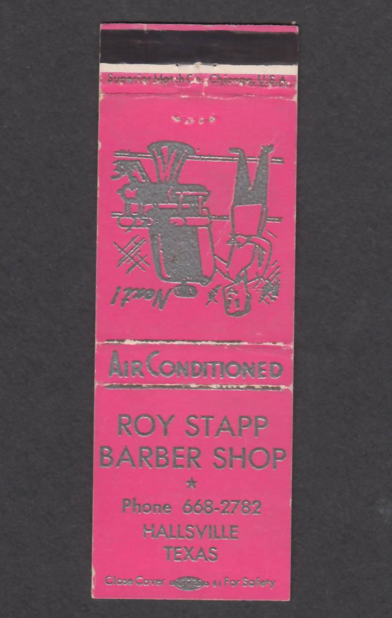 Image for Roy Stapp Barber Shop Hallsville TX matchcover