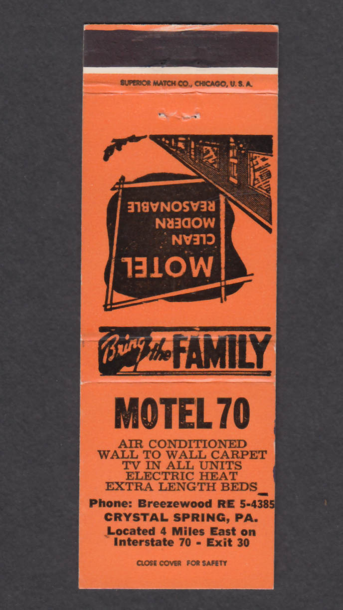 Image for Motel 70 Crystal Spring PA matchcover