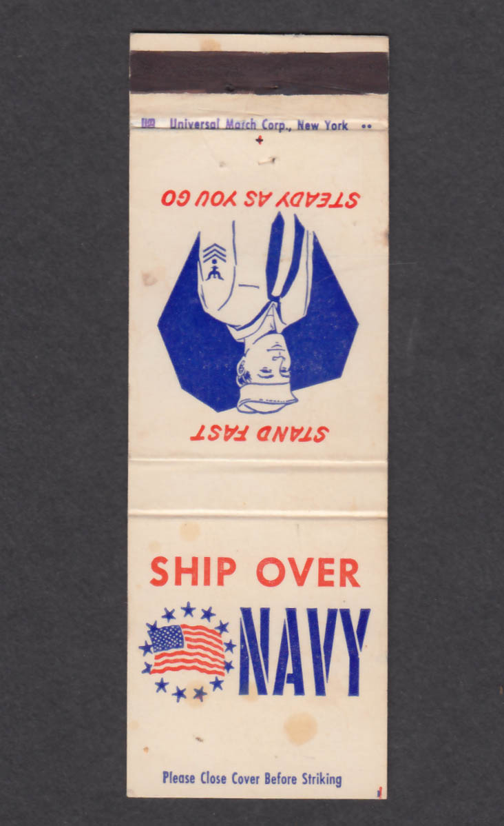 Image for Ship Over Navy Stand Fast Steady As You Go matchcover