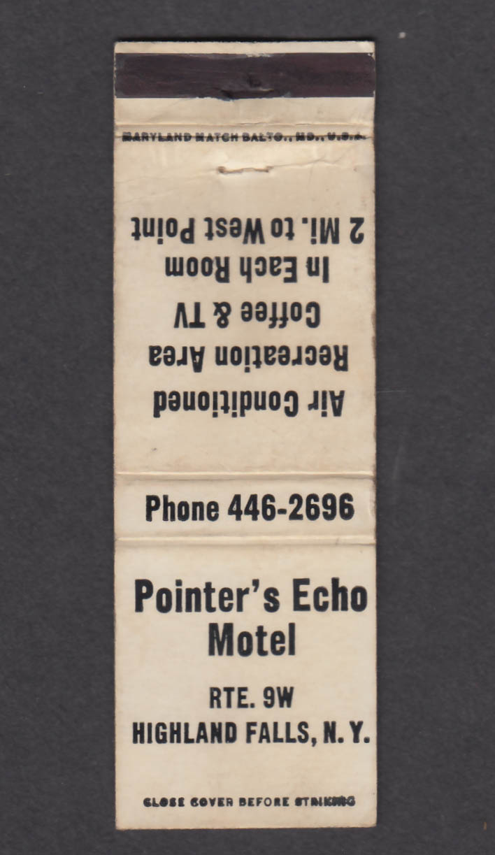 Image for Pointer's Echo Motel Rte. 9W Highland Falls NY matchcover