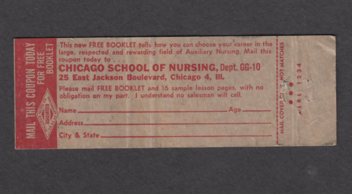 Image for Auxiliary Nursing Chicago School of Nursing matchcover