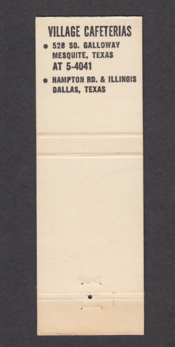 Image for Village Cafeteria 528 So Galloway Mesquite TX matchcover