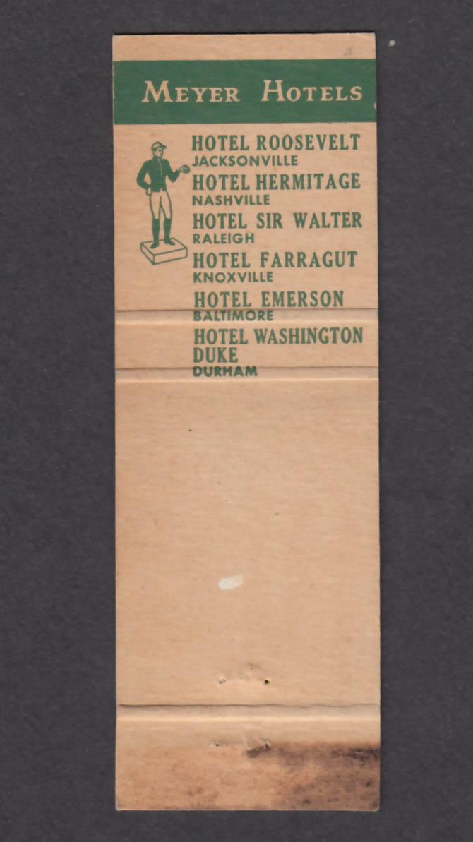Image for Hotel Washington Duke Meyer Hotels matchcover