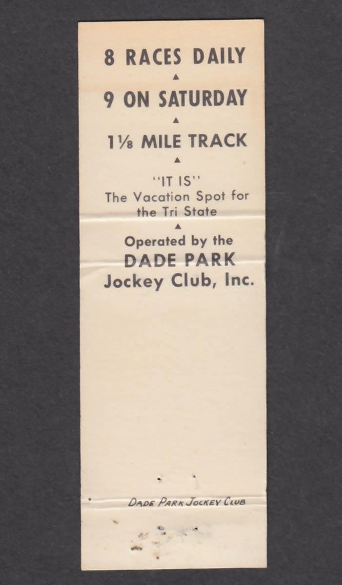 Image for Ellis Park Horse Races Dade Park Jockey Club matchcover