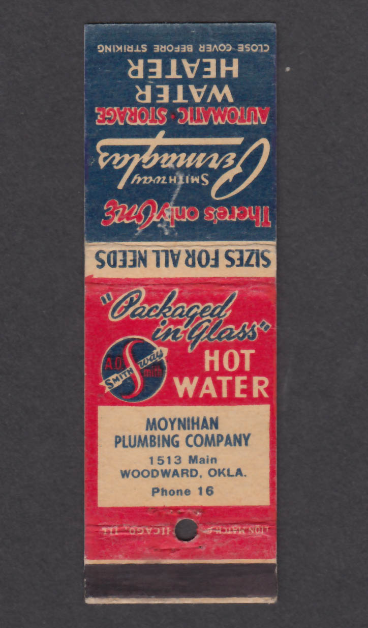 Image for Moynihan Plumbing Company 1513 Main Woodward OK Permaglas matchcover