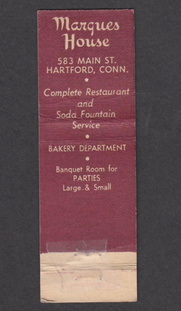 Image for Marques House Restaurant 583 Main St Hartford CT matchcover