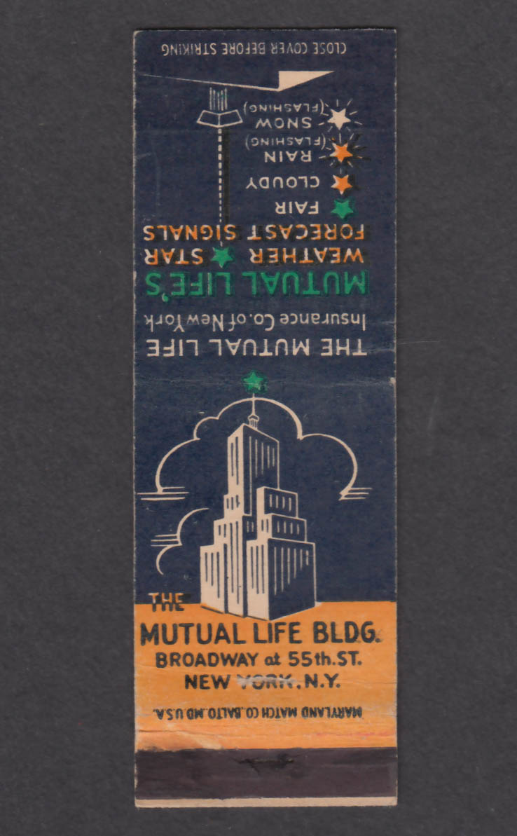 Image for Mutual Life Bldg Broadway 55th St New York NY matchcover
