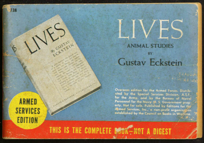 ASE 738 Gustav Eckstein: Lives - Animal Studies