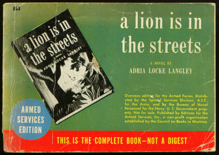 ASE 853 Adria Locke Langley: A Lion is in the Streets