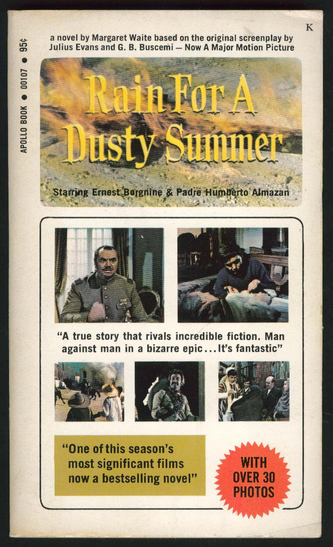Margaret Waite Rain For A Dusty Summer movie tie-in PBO 1st 1971 Ernest Borgnine