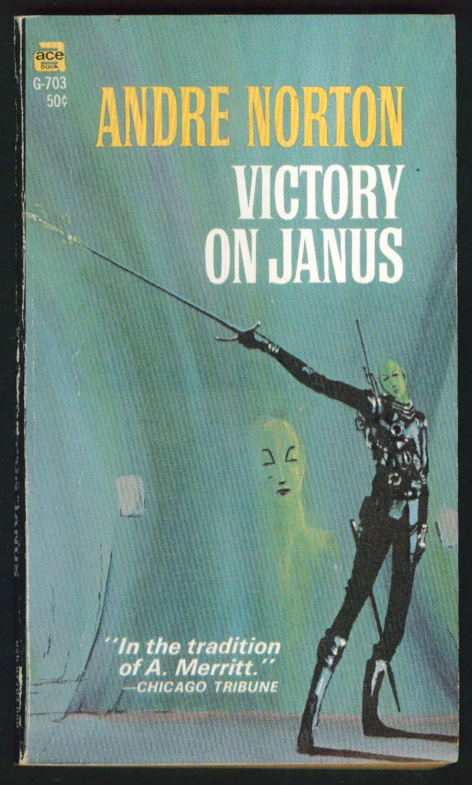 Andre Norton: Victory on Janus 1st pb ed 1966 Michael Gilbert sci-fi cover art