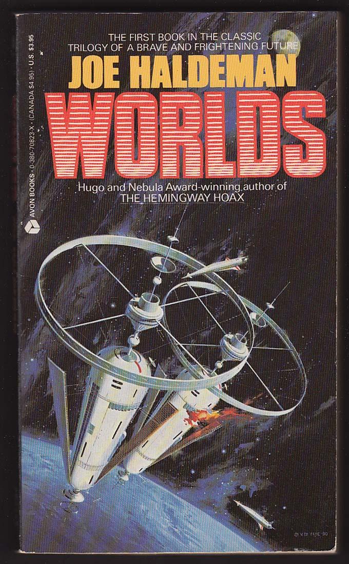 Image for Joe Haldeman: Worlds 1st pb ed 1990 sci-fi cover art by Vincent Di Fate