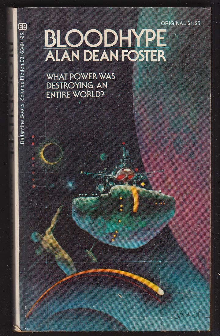 Alan Dean Foster: Bloodhype PBO 1st 1973 sci-fi GGA cover by Jerome Podwil