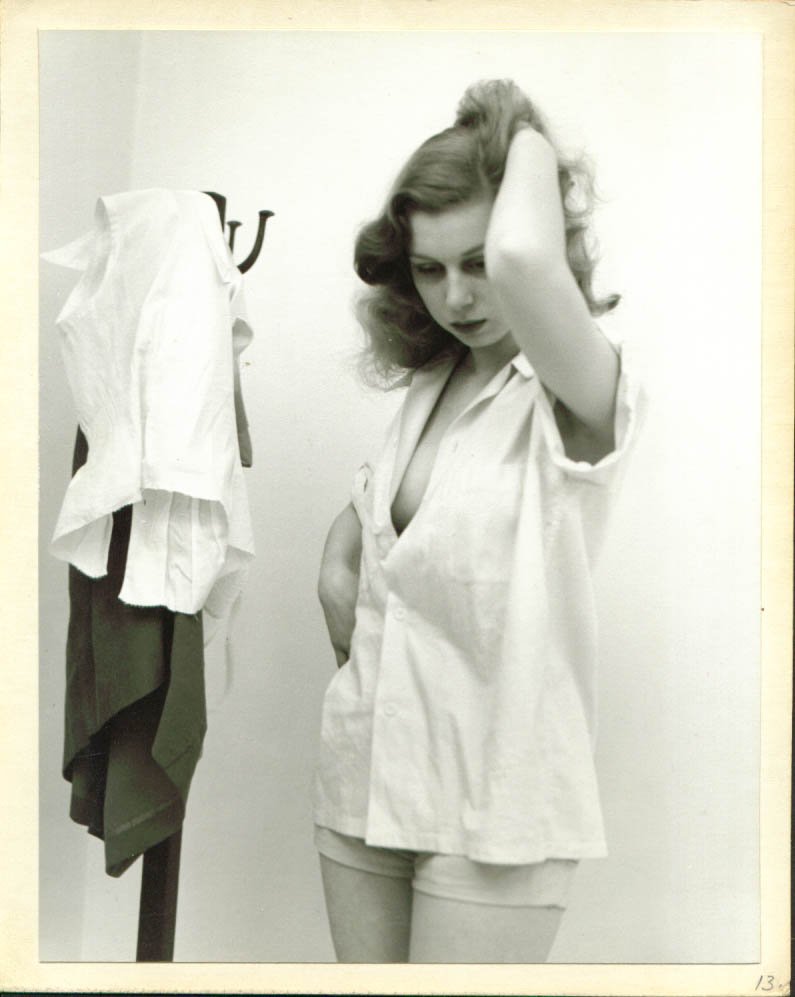 Image for Redhead model unbuttoned blouse hatrack 8x10 1950s