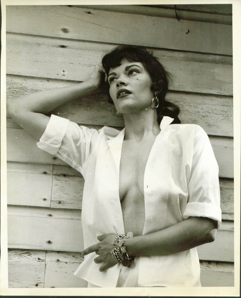 Outdoor model unbuttoned blouse no bra 8x10 50s