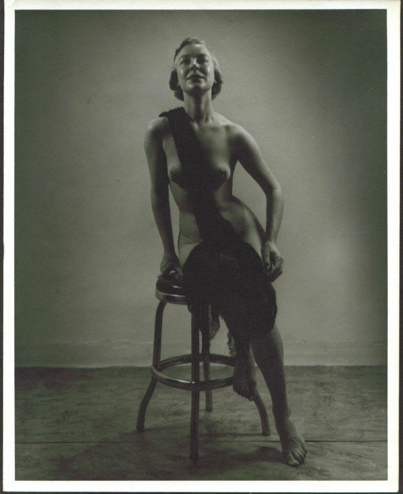 Image for Blonde nude on stool with lace shawl 8x10 1950s