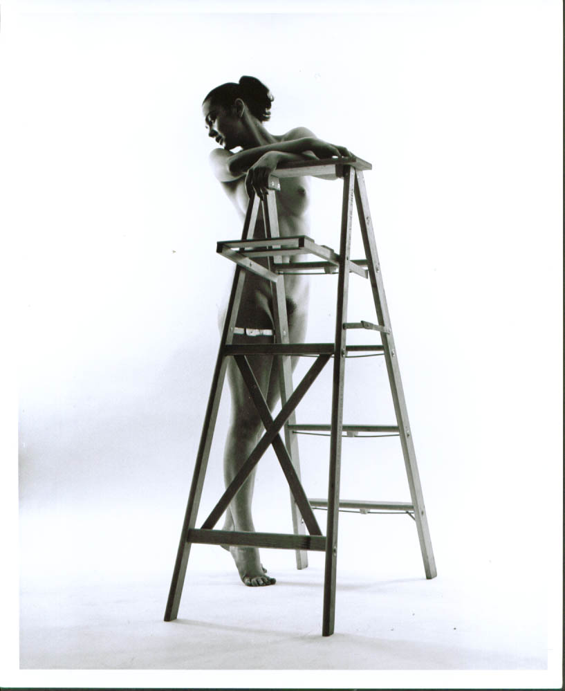 Ponytail nude leans on stepladder studio 8x10 1950s