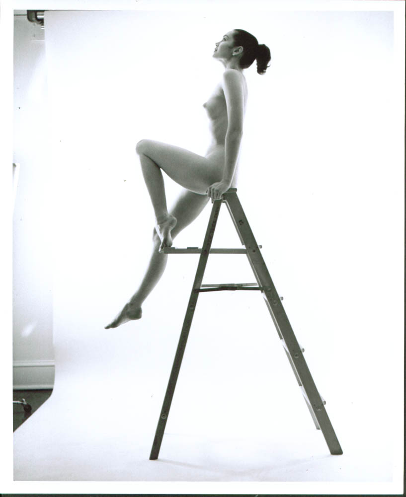 Ponytail nude sits atop stepladder studio 8x10 1950s