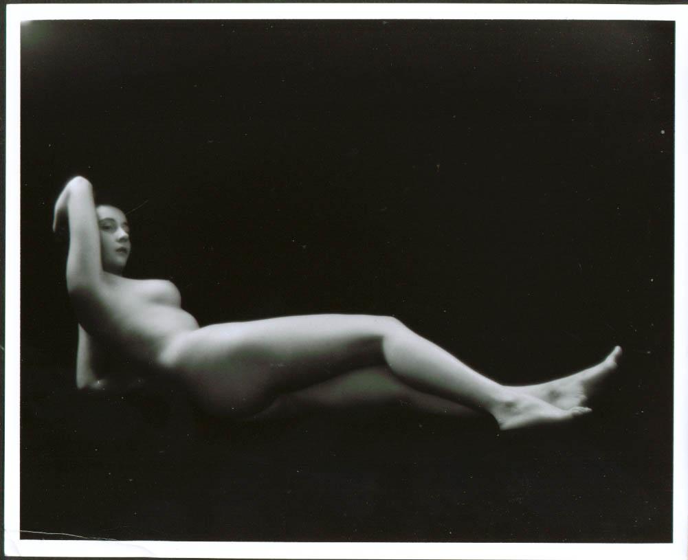 Reclining nude high-contrast lighting studio 8x10 1950s