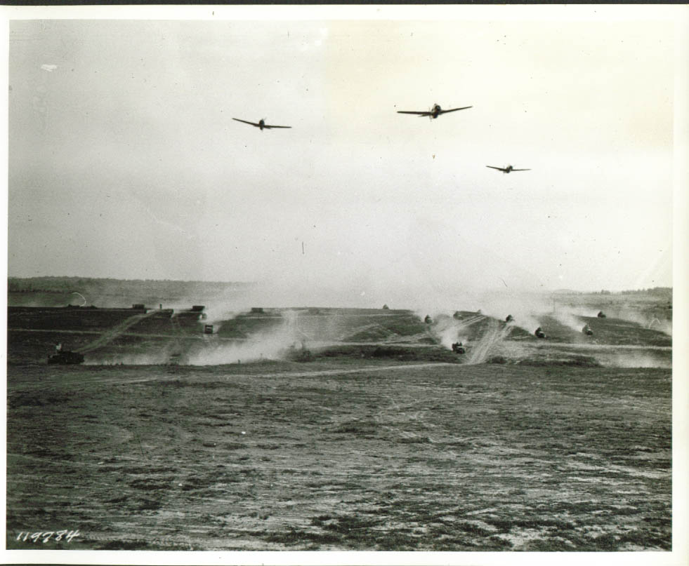 1st Armored cars & air support demo Ft Knox 8x10 1941