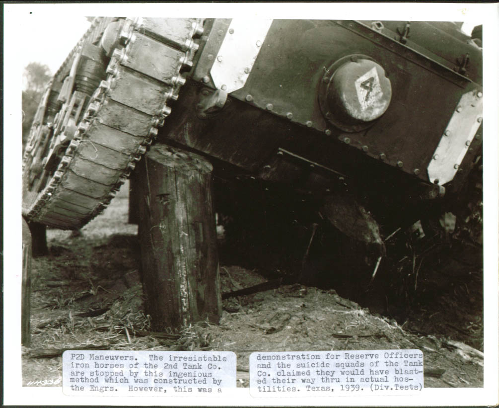 2nd Tank Co stumped Texas P2D Maneuvers 8x10 1939