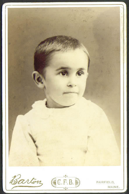 Dark-eyed boy cabinet card by Barton Fairfield ME