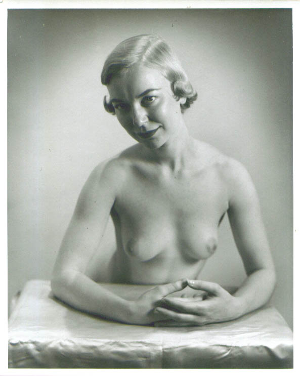 Blonde nude hands clasped vintage 8x10 1950s