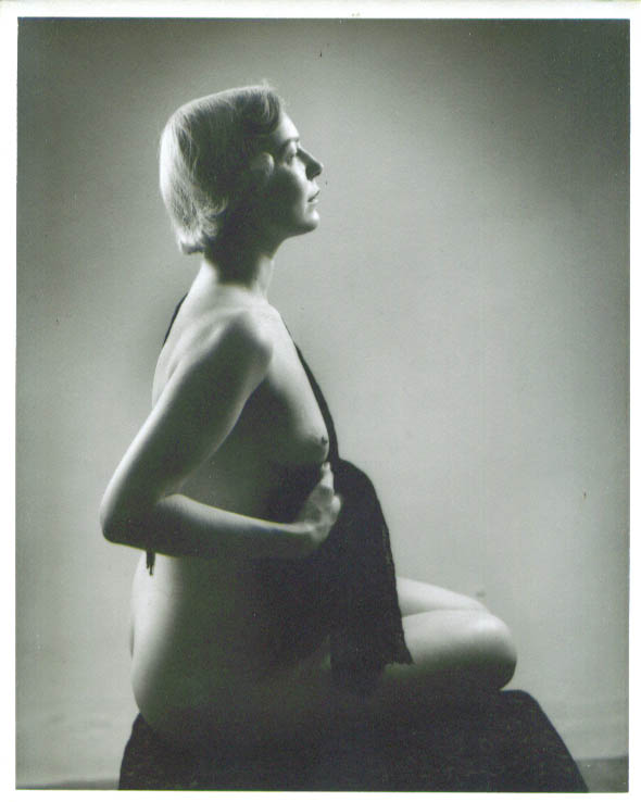 Nude blonde seated with shawl vintage 8x10 1950s