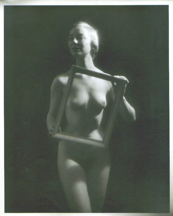 Image for Nude blonde holding picture frame vintage 8x10 1950s