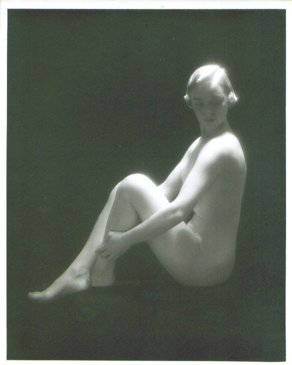 Image for Nude blonde seated black background vintage 8x10 1950s