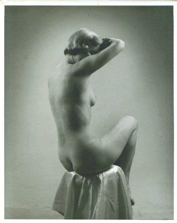 Nude blonde 3/4-rear view arms up vintage 8x10 1950s