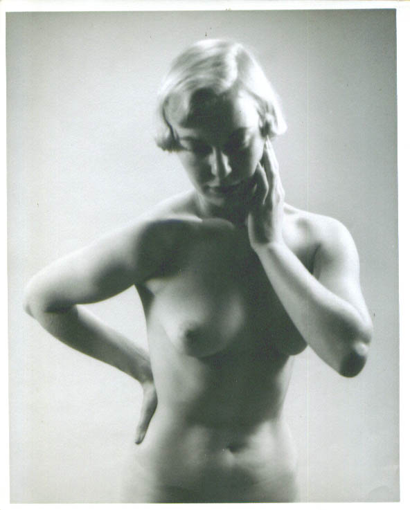 Nude blonde hand to cheek vintage 8x10 1950s