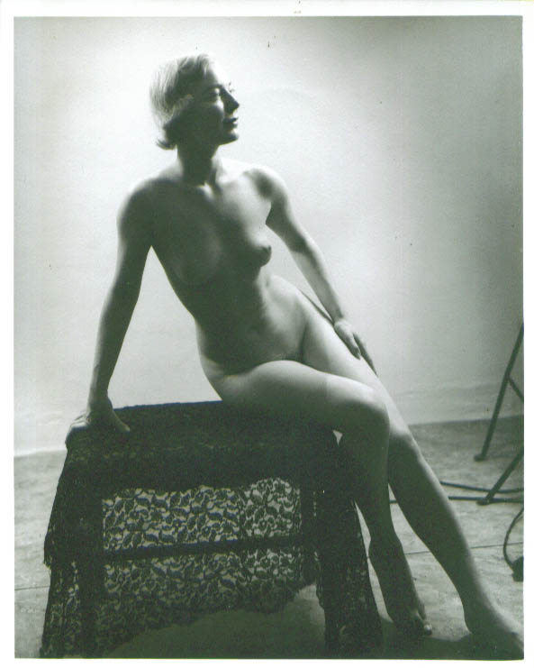 Image for Nude blonde seated lace wrap vintage 8x10 1950s
