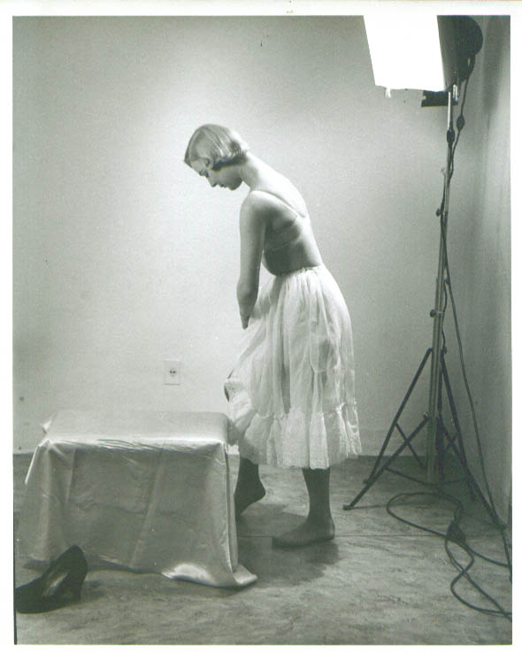 Blonde in bra adjusts half-slip vintage 8x10 1950s